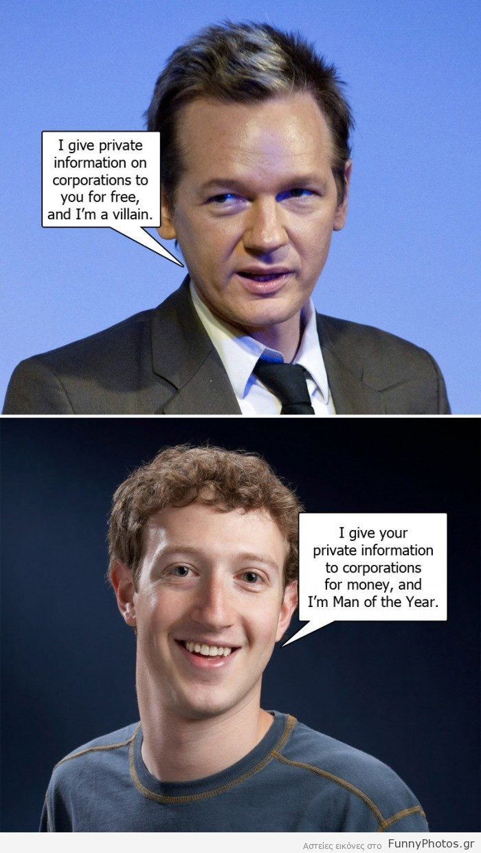 Julian Assange Εναντίον Mark Zuckerberg