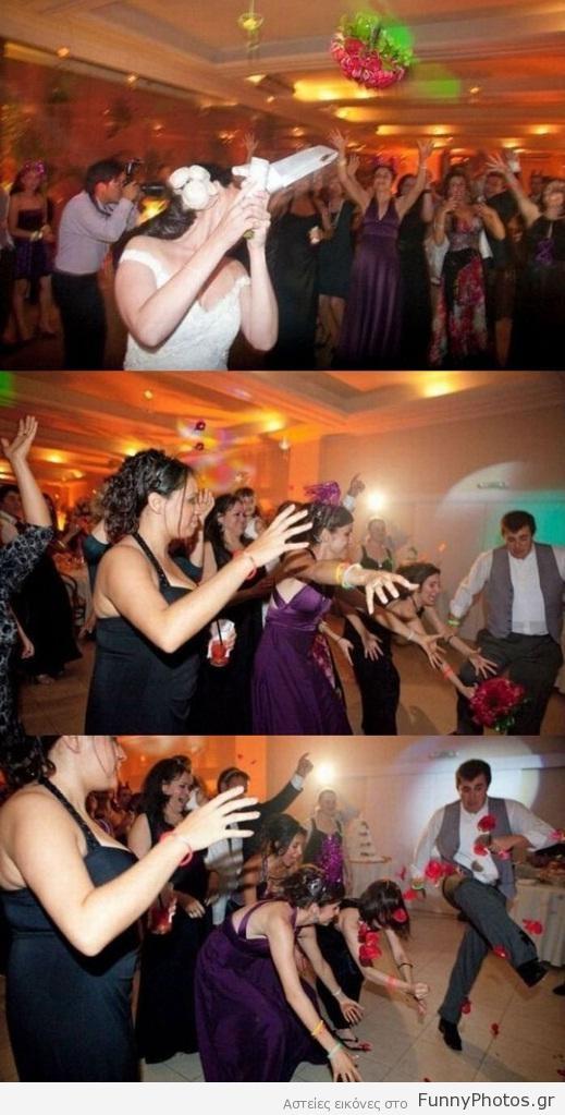 Κλωτσιά σε γαμήλια ανθοδέσμη